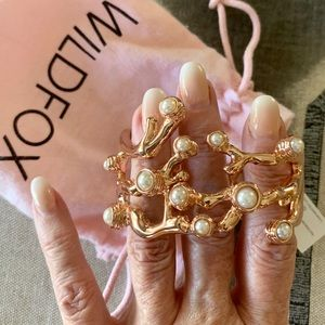 Wildfox rose gold & faux pearl fashion bracelet